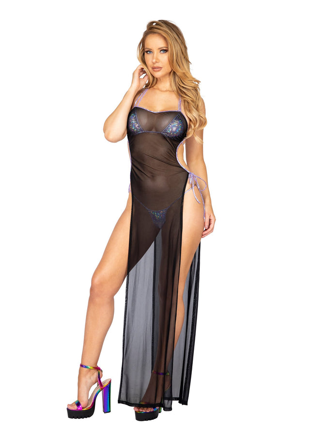 Sheer Mesh Maxi Length Dress with Tie Side