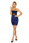 Women's Navy Blue Scrunched Satin Tube Sheer Mesh Dress