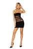Sexy Black Tube Mini Dress with Mesh Bodice Stripes