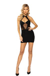 Halter Neck Dress with Sheer Mesh & Lace Detail