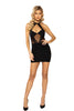 Black Halter Neck Sheer Mesh Front Keyhole Cutout Dress