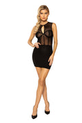 Key Hole Sheer Mesh Dress