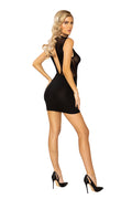Black Key Hole Sheer Mesh Front Keyhole Cutout Dress