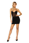 Black Sheer Mesh Corset Look Dress with Criss-Cross Back