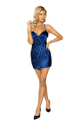 Blue Satin Faux Wrap Overlapping Pleated Sexy Mini Dress