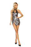 Shimmer Overlapping Dress with Keyhole
