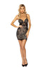 Underlined Eyelash Lace Sheer Black & Nude Underbust Cutout Dress