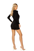 Deep V Plunging Mini Black Dress with Leg Slit