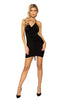 Center Scrunched Halter Neck Black Deep V Neckline Mini Dress