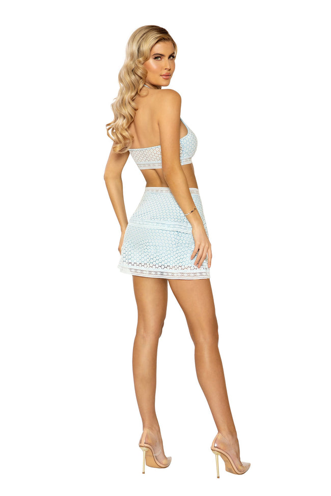 High-Waisted Lace Panel Tiered Skirt & Cropped Top