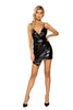 Leather Overlapping Dress with Zipper Closure
