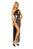 Maxi Length Shimmer Dress with High Slit and Keyhole