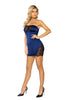 Satin Mini Tube Navy Blue Dress with Lace Accents
