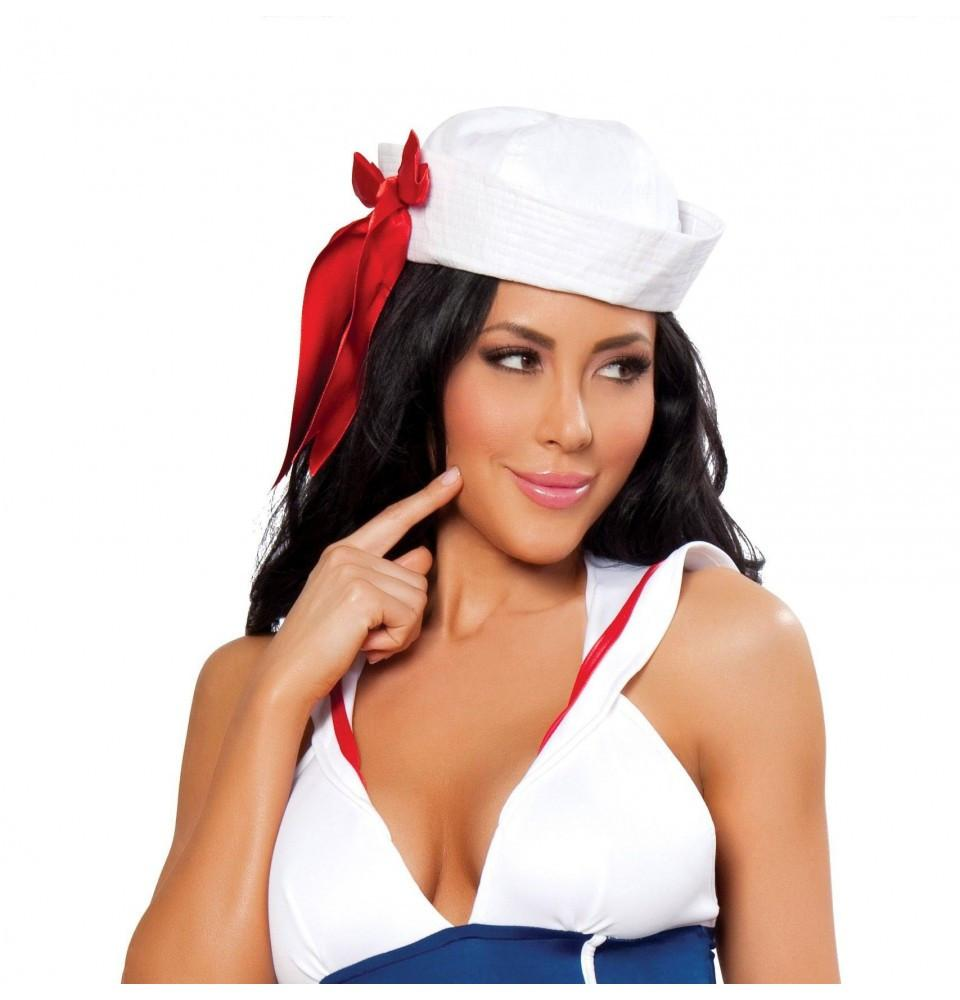 H104 Sailor Hat with Red Ribbon - Roma Costume Accessories
