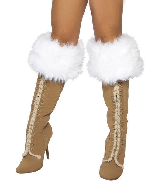 White Fur Boot Cuffs