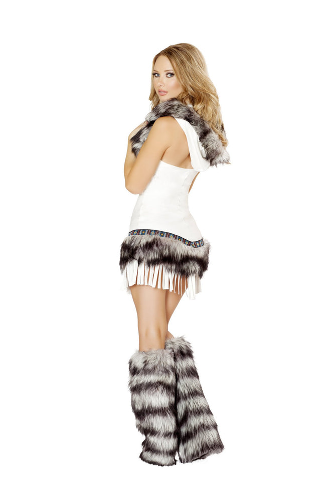 Indian Seductress Dress with Hood Fur Trim and Fringe Detail