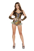 Sexy Gold Costume Strapless Romper Strapless Romper Iridescent Mermaid Fins