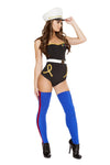 Naughty Marine Black Strapless Romper Costume with Gold Sweetheart Neckline