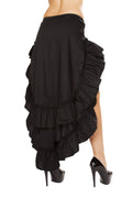 Women's Retro Black Waist Tiered Ruffle High Low Dance Skirt