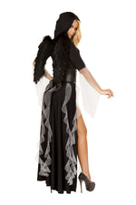 4867 - Roma Costume 3pc Midnight Angel Black Fallen Evil Angel Feather Wings