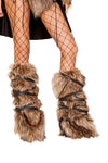 Pair of Faux Fur Leg Warmers with Strap Detail