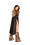 Northern Warrior Black Brown Costume with Black Velvet Short