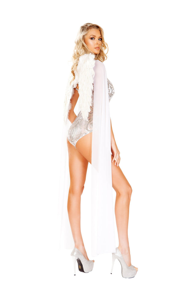 Women's White/Silver Angel and Heaven Halloween Costume Romper
