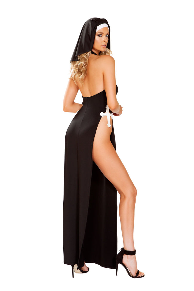 Nun of Your Business Costume Maxi Length Dress with Slits