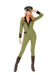 Military Army Babe Costume Fringe Shoulder Pad Collared Coat-Style Jumpsuit