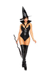 Wicked Witch Halloween Costume with Detachable Collar & Witch Hat