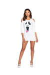 Sexy Silly Cutout Shoulders Ghost Screen Print Dress Costume