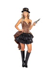 Sexy Steampunk Bronze Strapless Embroidered Corset Velvet Top Hat Costume