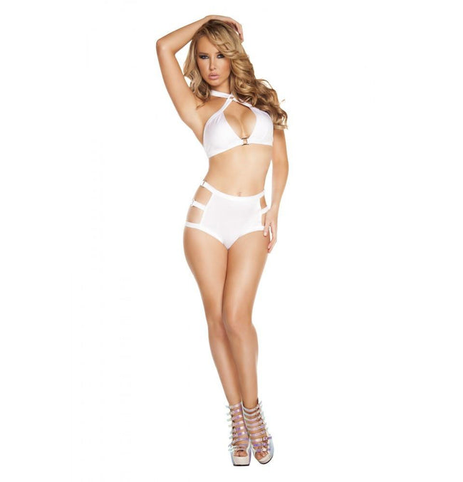 SH3194 - White - High-Waisted Shorts with Triple Strap & Square Ring Detail - Shorts - Roma Costume New Products,New Arrivals,Shorts - 1