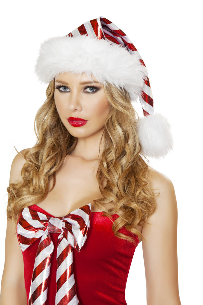 Christmas Red and White Striped Christmas Hat