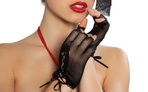Mini Fishnet Lace-up Gloves