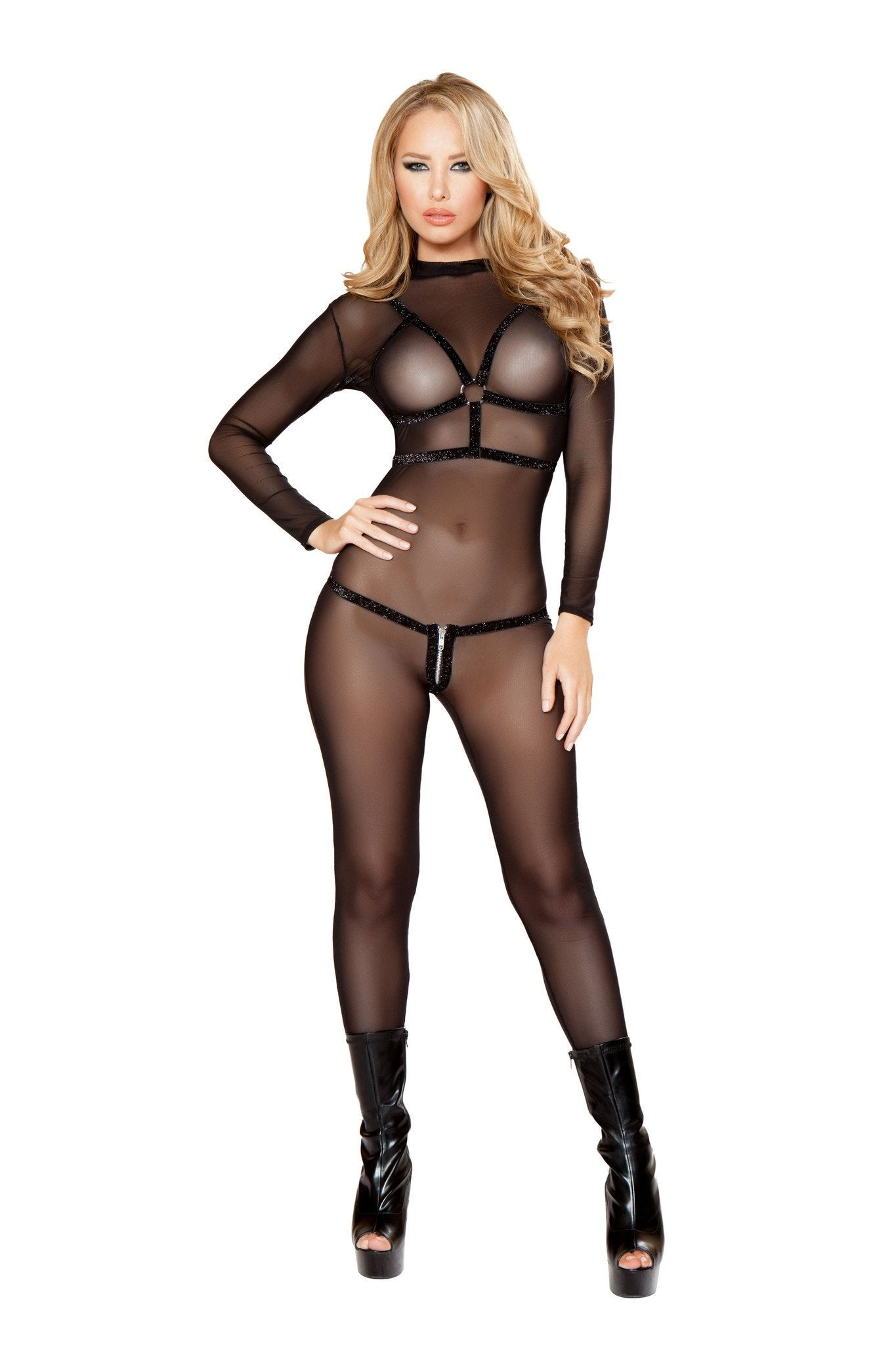 Shiny Elastic Holster Top with Ring and Shiny Elastic G-String
