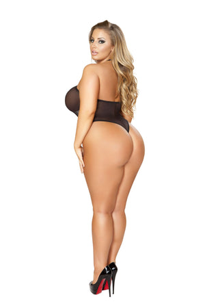 Sheer Body Suit with Halfway Zip-up Front & Open Back