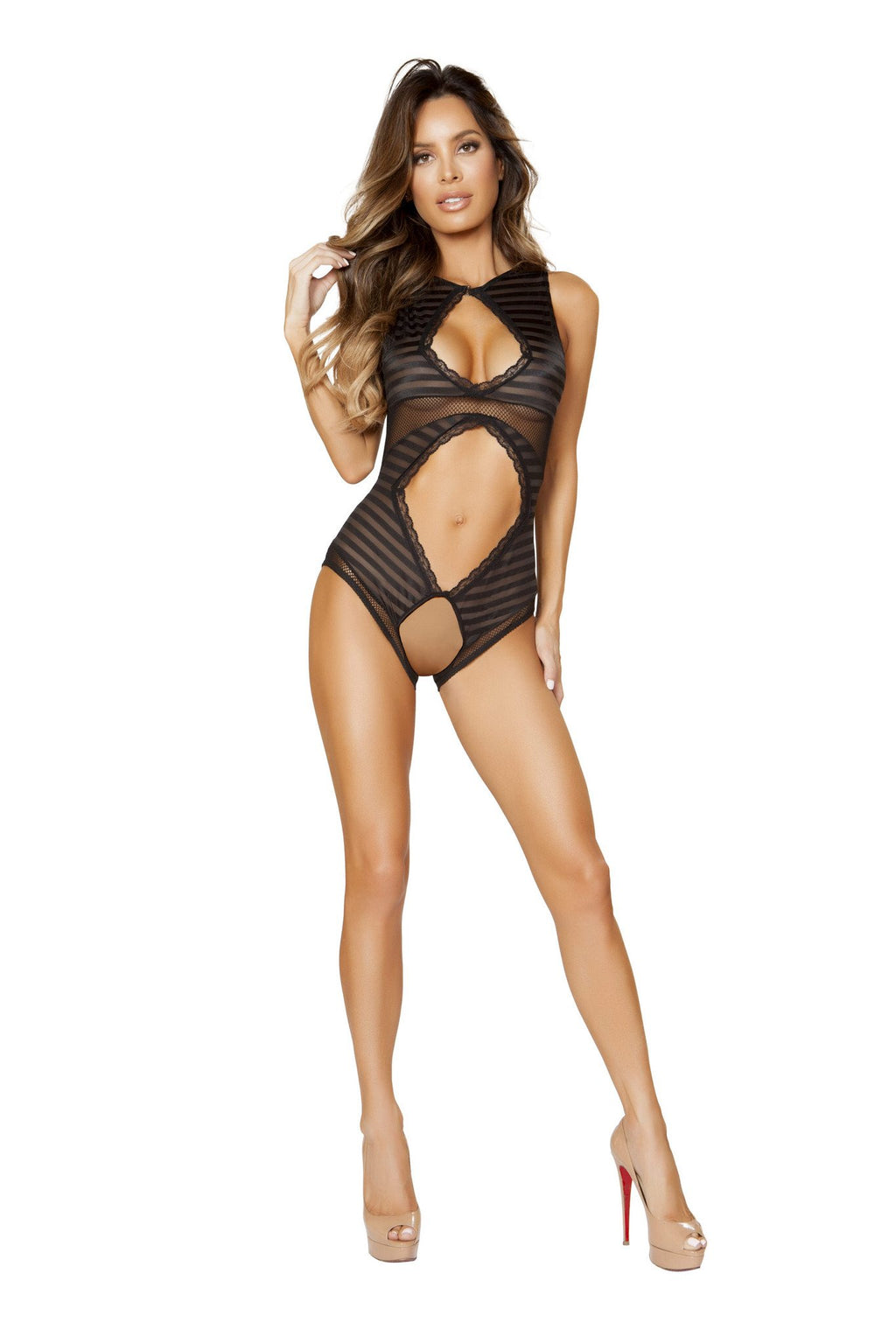 Teddy with Crotchless Bottom, & Multiple Cutout Front Details