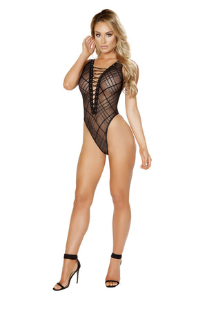 Sheer Lace-Up Teddy with Crisscross Design