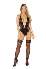 One Piece V-Shaped Eyelash Lace and Satin Teddy with Snap Bottom