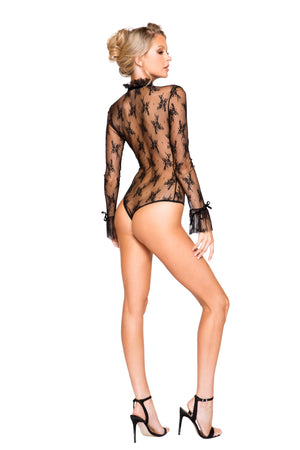 Elegant Long Sleeved Keyhole Teddy with Ruffle Detail & Snap Bottom