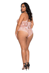 Satin & Lace Contrast Teddy with Snap Bottom