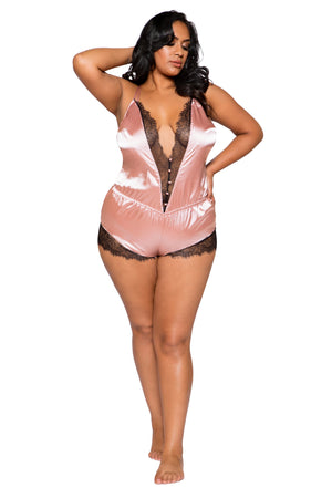 Elegant Eyelash Lace & Satin Romper with Button Detail