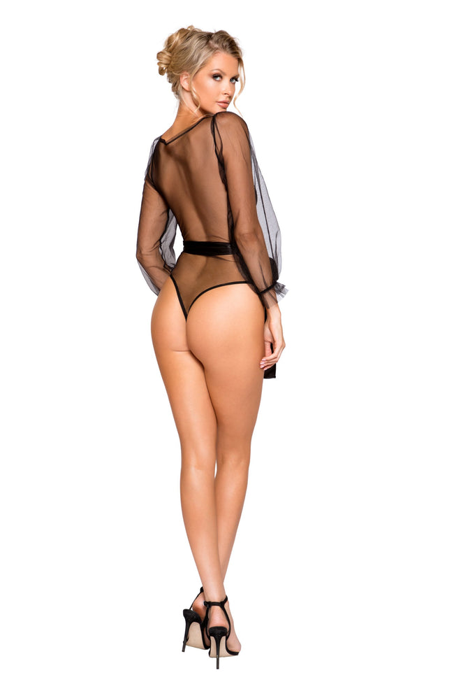 Sheer Mesh & Lace Teddy with Flair Sleeve and Optional Satin Tie