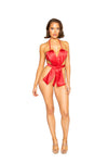 Unwrap Me Bow Satin Teddy with Built in Bikini Top