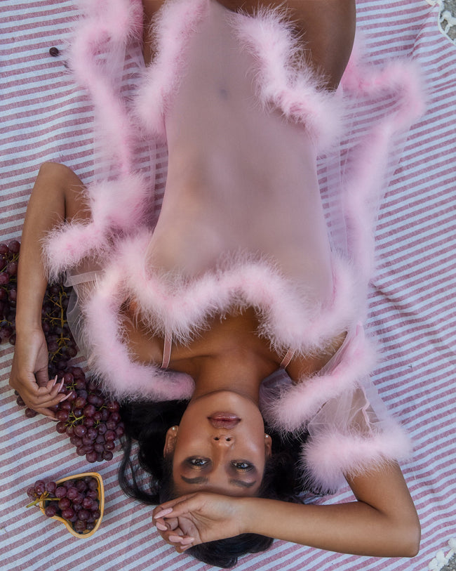 Sexy Sheer Marabou Teddy in Baby Pink Lavender