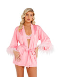 Soft Satin Robe with Ostrich Feather Plume Trim Set