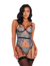 Shimmery and Seductive Metallic Bustier Silver Lace and Black Accent Set