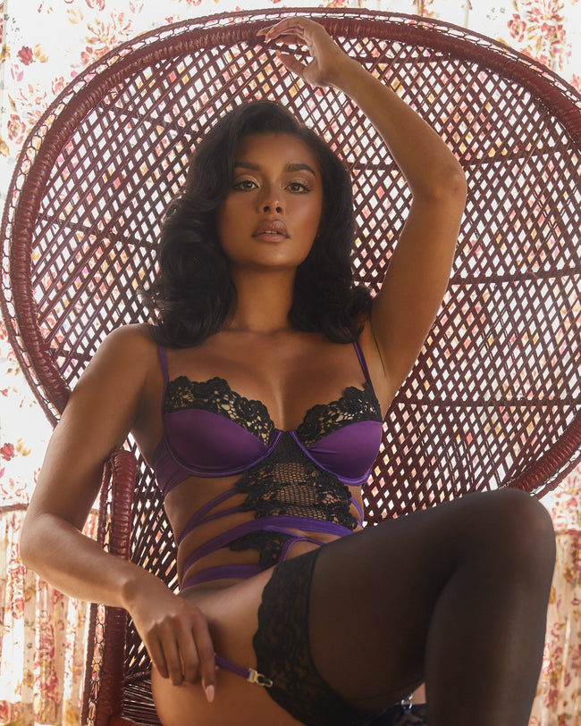 Embroidered Lace High Waist Underwear & Satin Bustier Set
