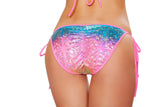 SH3311 - Printed Tie Side Pucker Back Bikini Bottom